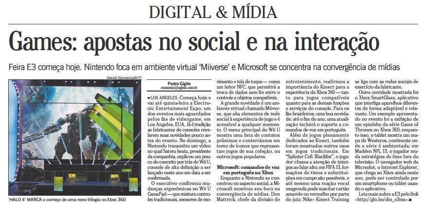 Digital & Mídia - O Globo, 5 de junho de 2012